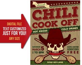 Chili invitation etsy chili cook off chili competition benefit fundraiser flyer invite saigontimesfo