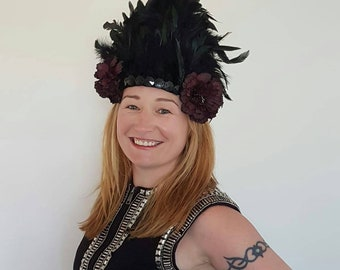 Black Feather Festival headdress headpiece Burning man costume Ibiza Boomtown Tribal  Boho Bohemian tiara crown Custom made
