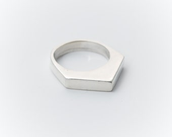 Apex Ring - hand carved and cast Sterling Silver geometric ring