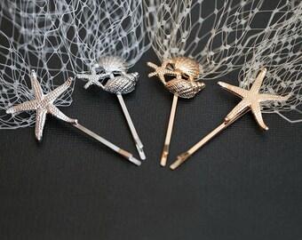 Champagne Veil On Starfish Seashell Hair Pins Beach Destination Wedding Beige Birdcage Veil Golden Jewelry Seashell Hair Accessory Hairpins