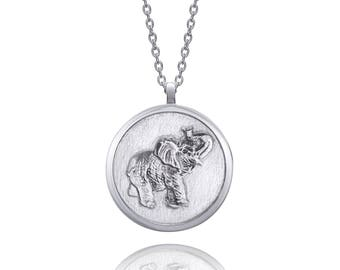 Elephant Sterling Silver Round Handmade Animal Necklace (White)