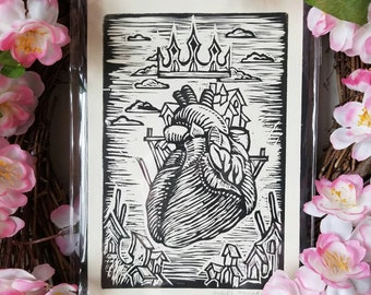 My Heart Resides With You block print, Angel Hawari, love, token of affection