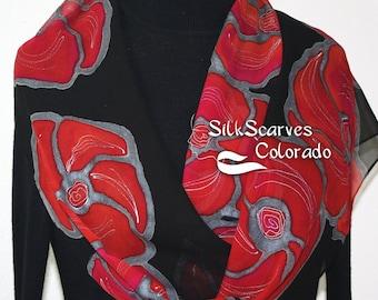 Silk Scarf Black, Red Hand Painted Chiffon Silk Shawl SUNSET KISS by Silk Scarves Colorado. Extra-Long 11x90 Elegant Silk Gift Birthday Gift