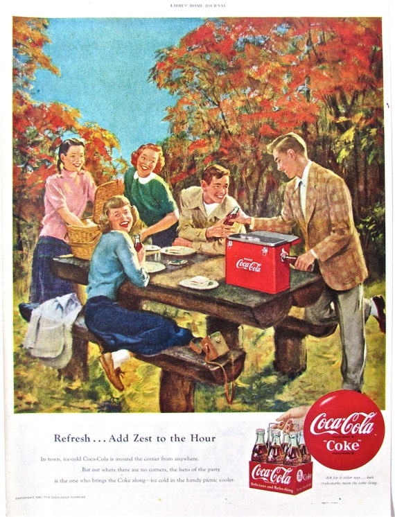 Items Similar To 1950 Vintage COCA COLA Print Advertisement Retro Coke Ad Atomic Age Drink Advertising Soda Pop Ads Teens Picnic Kitchen Wall Decor On Etsy