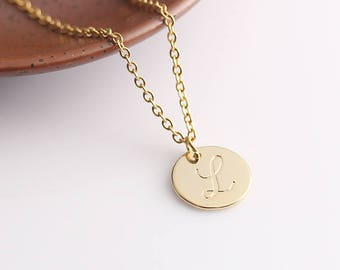 Personalized Bridesmaid Name Necklace, Initial Necklace, Gold Disc Necklace, Monogram Disc Necklace, Personalized Gift Idea