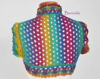 Crochet shrug bolero vest rainbow lace wool, M225