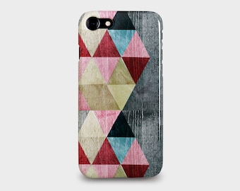 Coloured Geometric Triangles design for iPhone SE, 6, 6S, 7, 7PLUS Phone Cases. Grey, Red, Pink, Blue textured wood design.