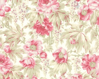 3 Sisters Favorites - Moda Fabric - Half Yard - Floral Tropical China White with Pink Large Scale Flowers Cotton Quilt Fabric 3768 11