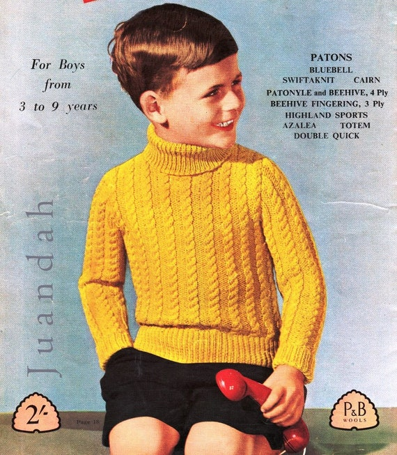 Boys Knitting Patterns Entire Pdf Book Of 1950s Childrens Knits