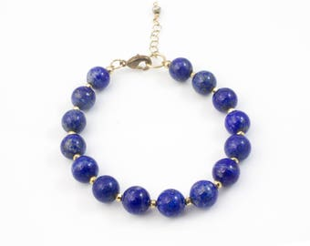 Lapis Lazuli Bracelet, Lapis Lazuli Gold Bracelet, Lapis Bracelet, Gemstone Bracelet, Blue Bracelet, Blue Beaded Bracelet, Blue Beaded