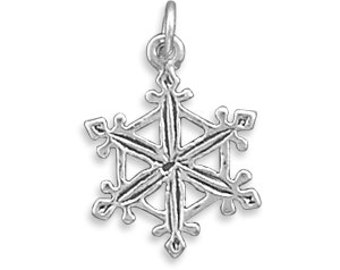 Sterling Silver Snowflake Charm, Christmas, Holiday, Collectible, Keepsake, Jewelry, Accessory, Gift, Snow, Blizzard