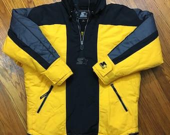 VTG Starter 1/2 Zip Pullover Windbreaker Ski Jacket US Mens Medium 3M Yellow Black