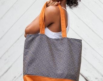 Orange and Blue Fabric Tote Bag Shopping Bag