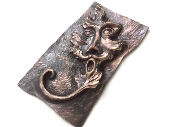 Bronze Greenman Leaf Face, chasing and repousse, one of a kind bas-relief wall art sculpture