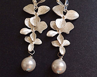 Silver Orchid Earrings Nature Jewelry Bridal Pearl Floral by MinouBazaar