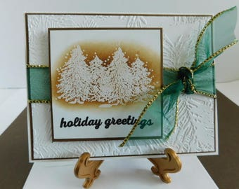 Handmade Christmas Card / Embossed Pine Branches Pine Tree Card, Holiday Greetings Card, Embossed Pine, Special Season filled with Love
