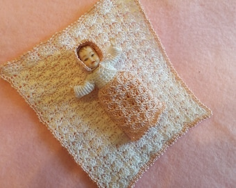 Miniature 1:12 scale Pink and White Baby Layette Crochet Pattern PDF