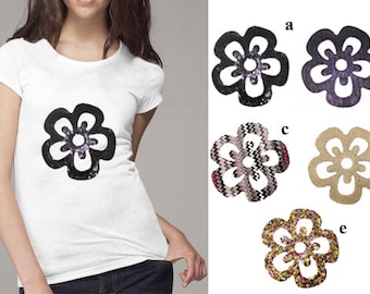 Flower Floral Heat Transfer Applique Designs for Fashion Crafts and Home Decor