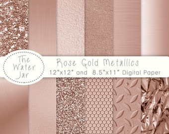 Rose Gold digital paper pack with Rose Gold Metallic Glitter, Gold Textures, Brushed metal, Rose gold foil, Rose gold textures.