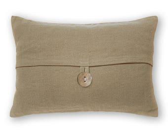 Sand Beige Linen Lumbar Pillow Cover 12 x 18 inch Shell Button DREA DESIGN Hand Dyed Breakfast Cushion Nordic Minimalist Scandnavian Decor