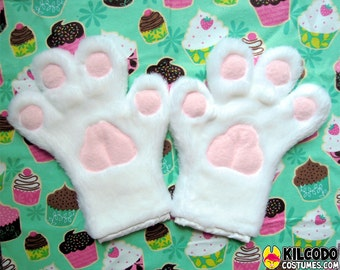 Toony Four-Finger Paw Gloves - Handpaws - Furry - Fursuit - Cosplay - Costume - Paws - White
