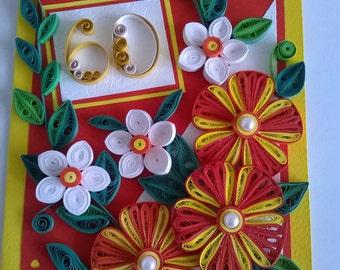 60th Birthday Card, Handmade Birthday Card, Quilling 20th, 30th, 40th, 50th, 70th, 80th, 90th Birthday Card