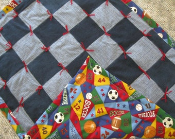 New Handmade Tied Denim Jean Sports Cotton Back Baby Lap Throw Quilt Blanket