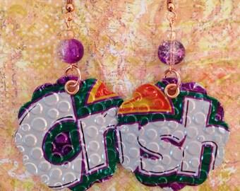 Up-Cycled Grape Crush Soda Can Earrings, Pop Can Earrings, purple earrings