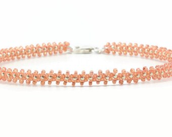 Seed Bead Anklet - Peach Anklet - Bead Chain - Ankle Bracelet - Beadwork Jewelry - Summer Jewelry - Beach Anklet
