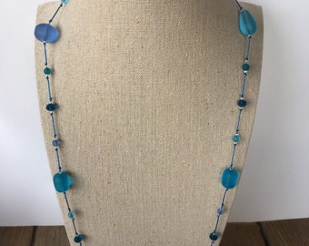 Seaglass Style Glass Beaded Necklace