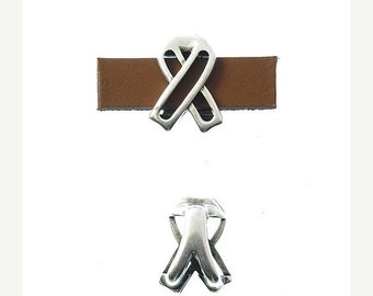 On Sale NOW 25%OFF Awareness Sliders For 5mm - 10mm Flat Leather  Antique Silver Z1767 Qty 2