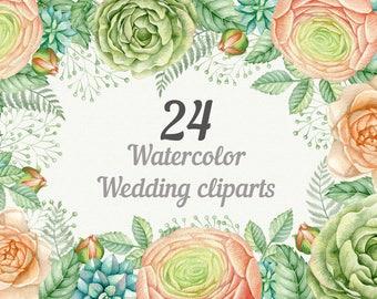 Wedding watercolor clipart