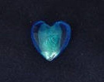 Blue 3D glass heart Center silver