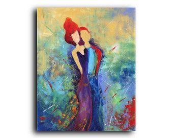 Gallery Canvas and Art Print Figurative People Couples Love Heart Abstract Contemporary Modern Giclee Elena