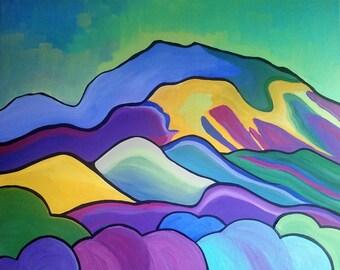 "Mt Diablo Original arylic painting 20"" x 16"""