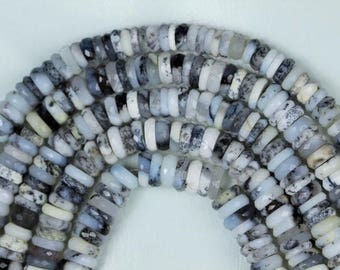 8 inch long strand Faceted Dendrite Opal Heishi Beads 2 x 5 -- 3 x 6.5 mm approx [ T 83 ]