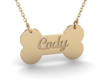 Dog bone necklace etsy personalized dog name necklace gold dog bone necklace dog name jewelry dog jewelry aloadofball Images