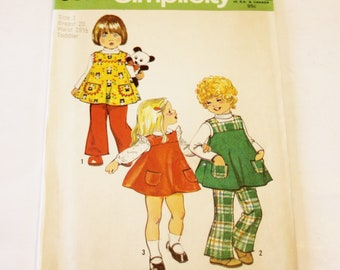 Simplicity 5872: Toddler's Jumper and Bell-bottom Pants Size 1 UNCUT