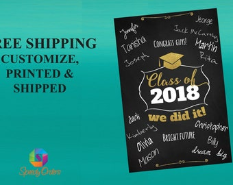 Chalkboard Signature Board - Class of 2018 - Printed Chalkboard Sign - Graduation Signature Board - Hand Drawn Chalk Banner ;8100020