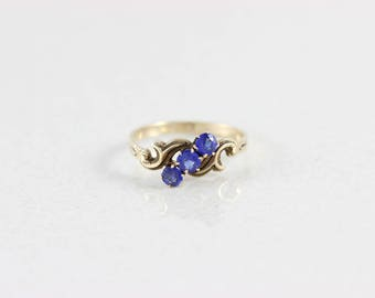 Blue Iolite Ring 10k Yellow Gold Antique Victorian Ring Size 7 3/4
