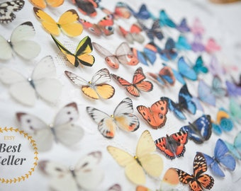 Pretty Silk Butterfly Hair Clips - Hand cut from Silk -Swarovski - Crystals - Wedding - Set of 5