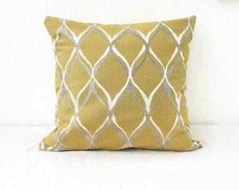 Mustard yellow cushion cover, modern pillow cover, yellow and grey, British designer prestigious textiles, handmade in the UK