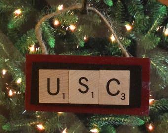 USC University of South Carolina Christmas Ornament Scrabble Tiles Handmade Rear View Mirror
