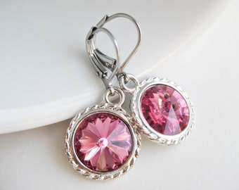 Magenta earrings, Swarovski crystals, round earrings, hot pink earrings, begonia dangle earings, UK handmade