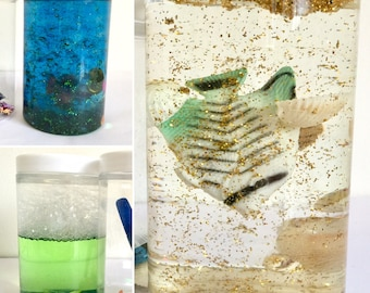 Sensory bottles, Calm down jars. Under the Sea. Fish in water. Snow globle, sparkly gift for children. DIY kits.