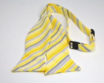 Men's Bow Tie Yellow and Gray Bowtie Tonal Striped Tie