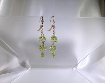 "Peridot chandelier earrings 2"" total 14k gold filled gemstone handmade item 462"