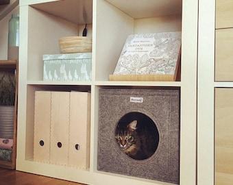 Felt cat cave fits into Ikea Expedit and Kallax, felt cat bed, cat house, pet bed, small puppy bed, pet furniture