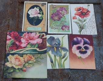 Vintage Flower Postcards, Floral Cards, 7 Vintage Postcards with Flower Designs, Great for Craft Projects and Spring Wedding Decor