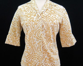 Vintage 60s Blouse White Stag Yellow white Cuffed sleeve cotton top shirt L